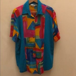 C.M. Shapes Retro Abstract 80s neon Shirt